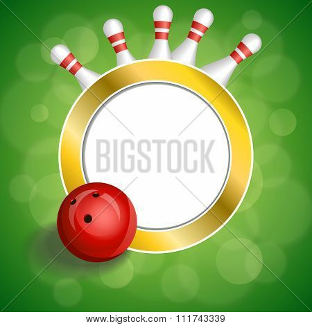 Background abstract green bowling red ball gold circle frame illustration vector