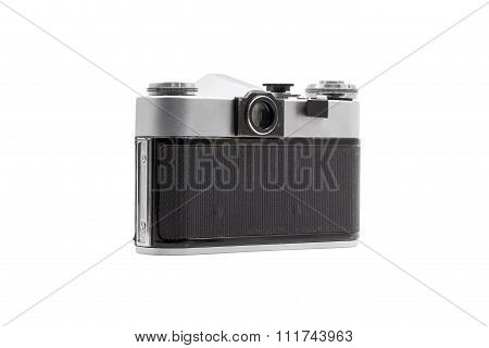 Retro Soviet Film Camera Isolated On White Background. Soviet Reflex Camera. Back Side View
