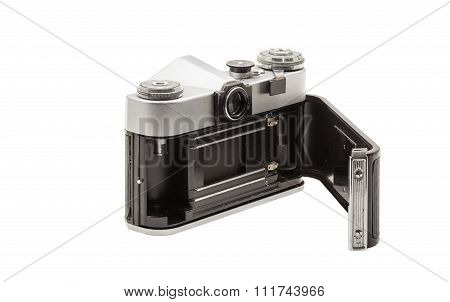 Retro Soviet Film Camera Isolated On White Background. Soviet Reflex Camera. Opened Back Side