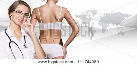 Slim woman body with correction lines