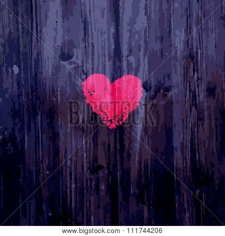 Valentine heart on wooden background