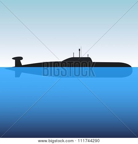 The submarine in the blue sea