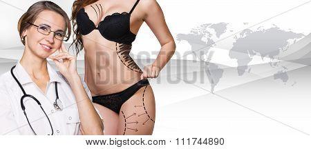 Beautiful brunette woman in black underwear