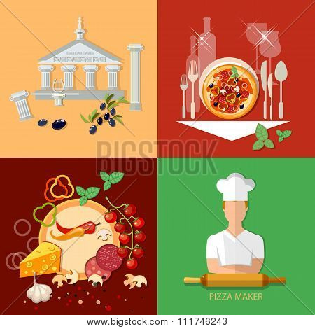 Italian Cuisine Pizzeria Chief Cooker Pizza Ingredients Restaurant Menu Template Vector Icon Set