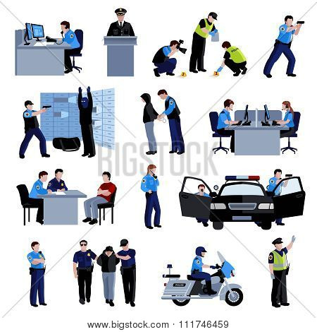 Policeman People Flat Color Icons