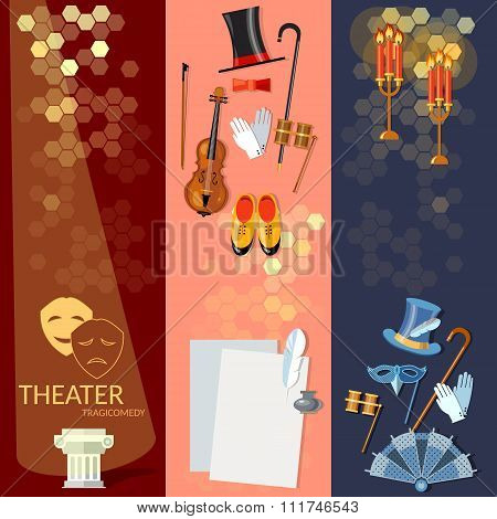 Theatre Flat Banner Set With Actors Scenario Decorations Dramaturgy Performance