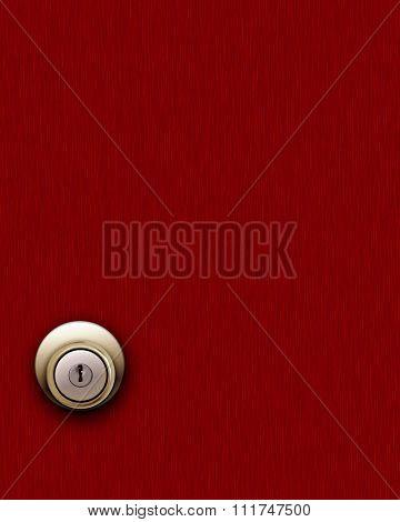 Red Wooden Door And Knob