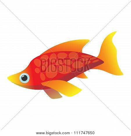 Red sea fish cartoon icon