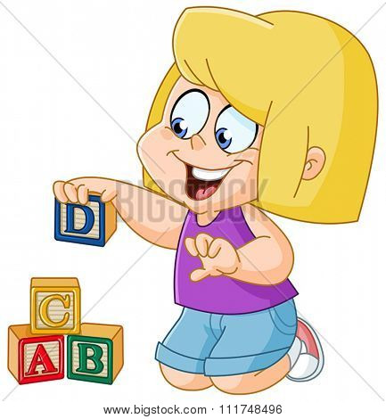 Little girl playing with wooden alphabet blocks