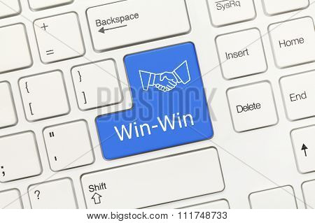 White Conceptual Keyboard - Win-win (blue Key With Handshake Symbol)