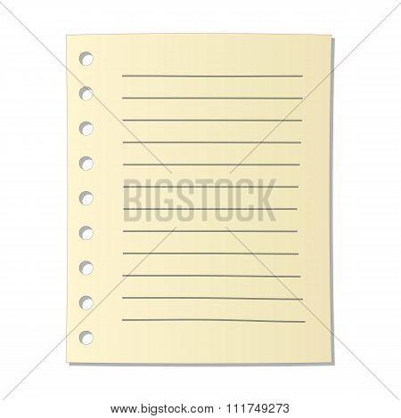 Sheet of notebook cartoon icon