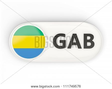 Round Icon With Flag Of Gabon