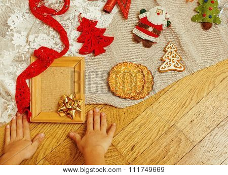 christmas card wooden vintage with handmade gifts, toys, cookie, snowman santaclaus
