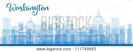 Outline Washington DC City Skyscrapers in blue color. Vector illustration. Business and tourism concept with skyscrapers. Image for presentation, banner, placard or web site