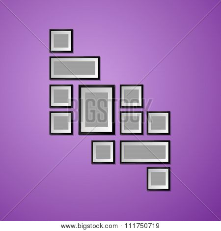 Colorful Wall with empty Picture Frame. Vector