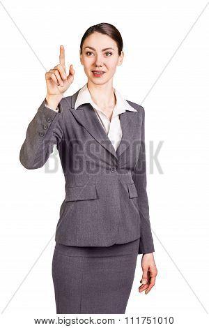 Brunette businesswoman showing forefinger