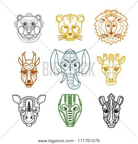 African Animals Heads Masks Line Icons