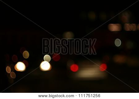 abstract blur bokeh of Evening traffic jam on road in city.