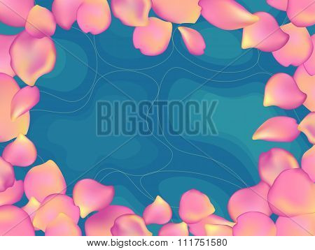Blue Water With Rose Petals