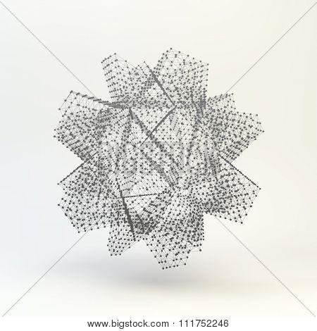 Lattice Geometric Polygonal Element. Connection Structure. Vector Illustration.
