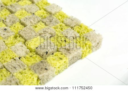 Pumpkin And Black Sesame Bread, Dice Bread Conner On White Background