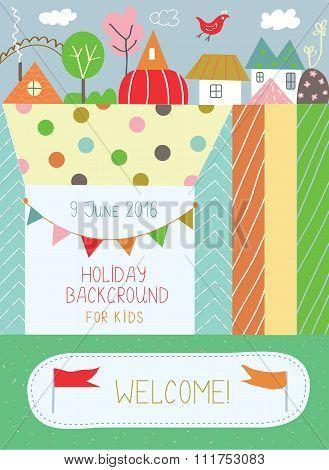 Holidays Background For Kids For Birthday Or  Kindergarten Poster -