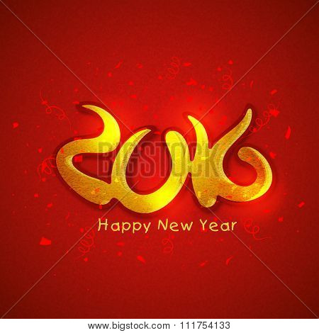 Glossy beautiful red greeting card with golden text 2016 for Happy New Year celebration.