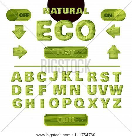 Colorful Green Natural Font For The Creation And Design Of Interface Of Mobile Games And Application