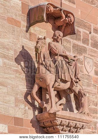 Sculpture On The Facade Of The Basel Minster