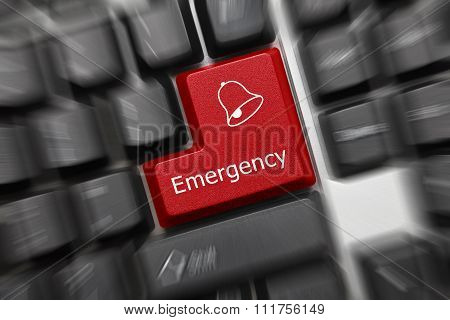 Conceptual Keyboard - Emergency (red Key, Zoom Effect)