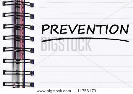 Prevention Words On Spring White Note Book