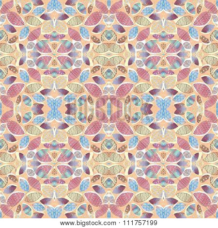 Abstract Foliage Seamless Kaleidoscopic Pattern Background For Your Design.
