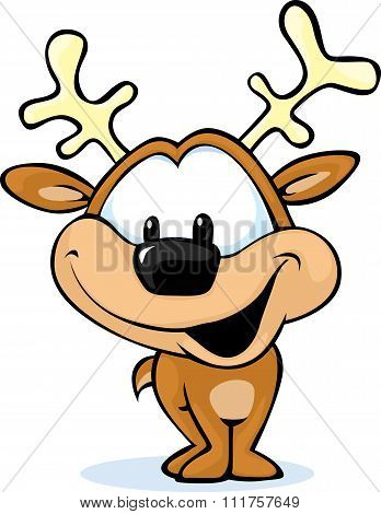 Cute Reindeer On Abstract Background - Vector Illustration