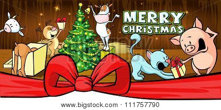 Christmas Card With Farm Animal In Cowshed Banner