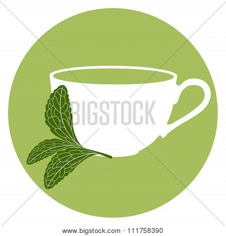 Stevia and a cup of herbal tea
