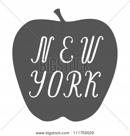 New York lettering on a big apple.