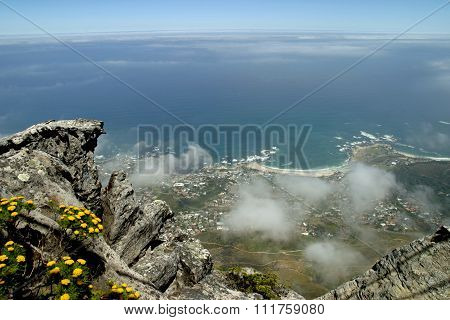 View from top of Table Mountain in Cape Town South Africa
