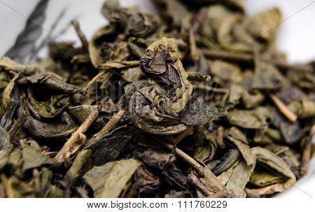 Dry green tea Da Hong Pao. Close up photo.