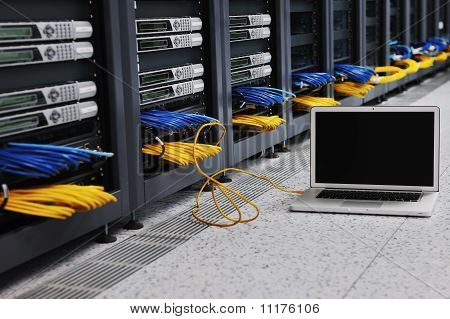 Laptop Computer At Server Network Room