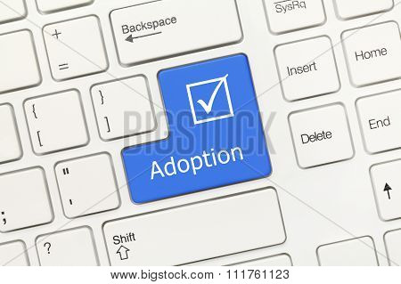 White Conceptual Keyboard - Adoption (blue Key)