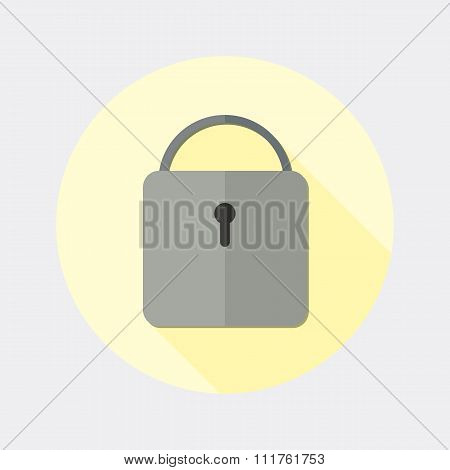 Flat design closed padlock icon with long shadow
