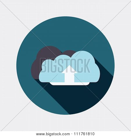 Flat design clouds and arrow symbol icon with long shadow