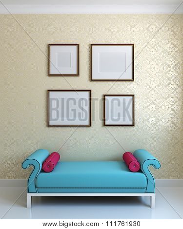 Blue Ottoman And Emty Frames On The Wall. 3d render.