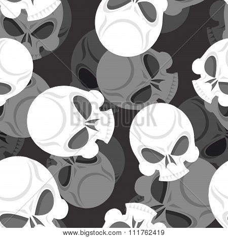 Skull Seamless Pattern. Head Sklet 3D Background. Death Of Ornament.