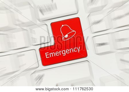White Conceptual Keyboard - Emergency (red Key, Zoom Effect)