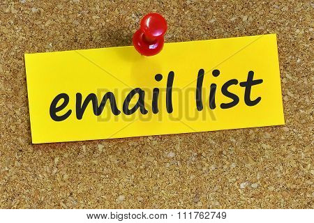 Email List Word On Yellow Notepaper With Cork Background