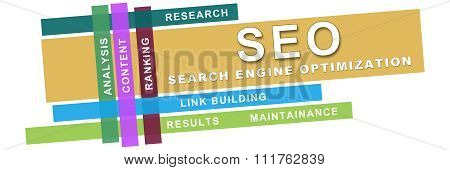 Seo Wordcloud Colorful Stripes