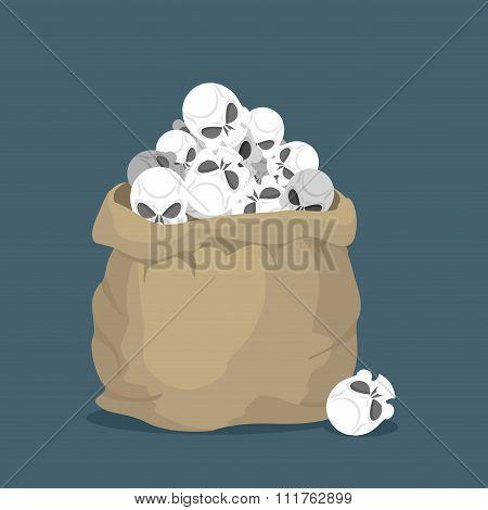 Sack Of Skulls. Open Bag With  Heads Of Skeletons. Lots Of Creepy Dead In Bag. Bag Of Death.  Terrib