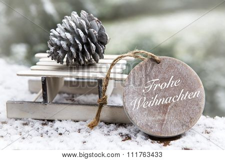 Miniature Sleigh With German 'frohe Weihnachten' (merry Christmas)