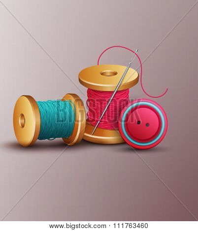 background with sewing accessories ( thread, spools, needle and buttons)